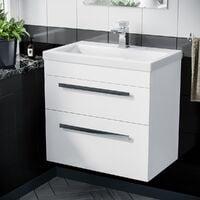 Nanuya 600mm Wall Hung 2 Drawer Vanity Basin Unit White
