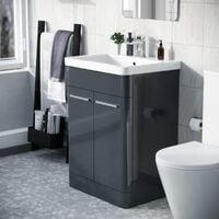 Afern 600mm Vanity Unit Cabinet and Wash Basin Anthracite