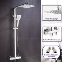 Fawley Square Thermostatic Exposed Twin Head Mixer Shower Set