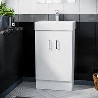 Gaidor 450mm White Gloss Freestanding Basin Vanity Unit