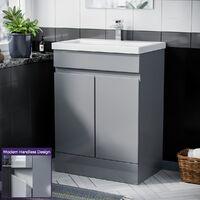 Hardie 500mm Light Grey Vanity Cabinet and Basin Sink Unit Bathroom Floor Standing