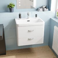 Quickely 600mm 2 Drawer White Wall Hung Vanity Cabinet With Basin Sink