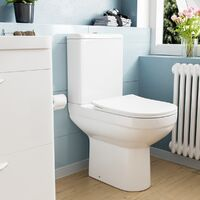 Deyed Comfort Height Close Coupled Toilet Pan, Cistern and Soft Close Toilet Seat
