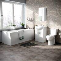 Memphis 3-Piece Bathroom Suite White - Close Coupled Toilet, 550mm Basin Vanity Unit and Round Bath Tub