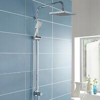 Winstead Square Thermostatic Bath Mixer Shower Riser Rail Kit