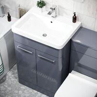 Afern 600mm Basin Vanity Cabinet, WC Unit, Square Toilet & Bath Bathroom Suite Steel Grey