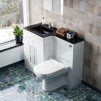 Aric LH 600mm Vanity Unit, Black Basin, WC Unit And BTW Toilet White