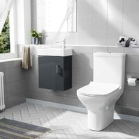 Nanuya 400mm Cloakroom Wall Hung Basin Vanity Unit & Rimless Close Coupled Toilet Dark Grey
