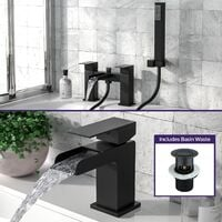 Ozone Waterfall Matte Black Basin Mono Tap and Bath Filler with Handset Set