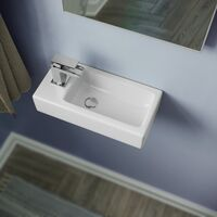 Tulla 375 x 185mm Small Cloakroom Rectangle Wall Hung Basin Sink and Fittings
