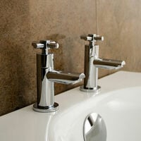 Linden Cross Head Hot & Cold Basin Taps & Basin Waste Chrome