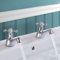Trafford Cross Head Basin Hot & Cold Tap Pair & Square Waste Chrome