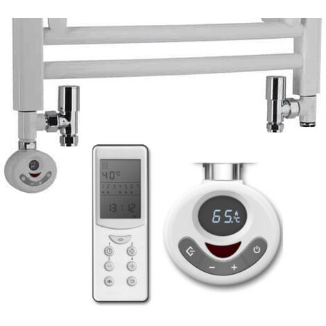 DUAL FUEL KIT D For Towel Warmers: Thermostatic Heating Element & Round Valves, 600w, White