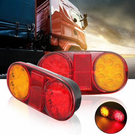 2PCS Feu LED Remorque, 12V LED Feux Arriere Remorque De Lumière avec Plaque D'immatriculation Lampe, Feu de Remorque LED Convient pour RV/Camions/Caravanes/Voiture/Feux Arrière De Remorque