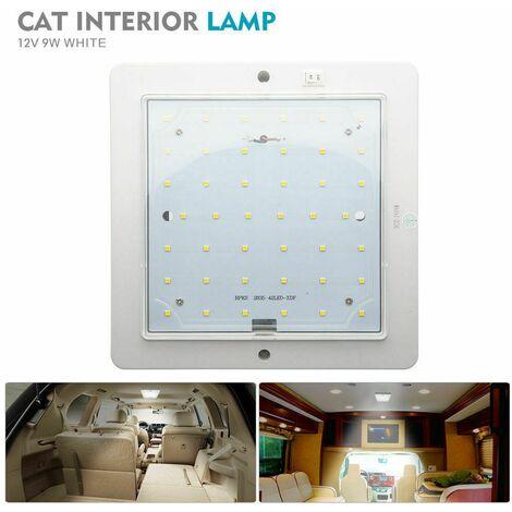 12V 9W Carré LED RV Intérieur plafonnier 42LED Lampe de Plafond,Plafonnier de Toit de Lumière pour Marine Bateau Camper Remorque (Blanc)