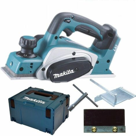 Makita DKP180Y1J Rabot à batteries 18V Li-Ion machine seule + (1x batterie 1,5Ah) dans MAKPAC - 82mm - 2mm