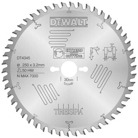 Dewalt DT4345 Extreme Lame de scie circulaire - 250 x 30 x 50D - Bois / Stratifié