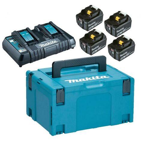 Makita 197626-8 - Pack Énergie 18 V Li-Ion (4 batteries + 1 chargeur double) avec coffret MAKPAC