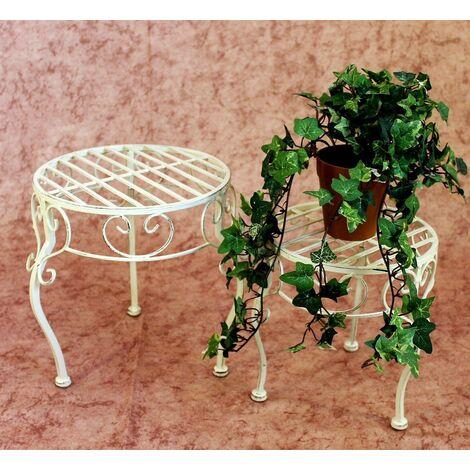 Pflanzen Hocker Blumenständer Pflanzenständer Holz Blumenhocker rund 2er Set