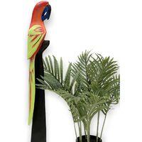 Papagei aus Holz Vogel Handbemalt Rot 80 cm Holzfigur aus einem Stück Holz