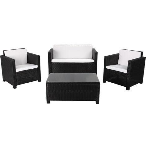 MATIRA - Muebles de Jardín de Resina Trenzada - 4 Plazas - Negro Beige