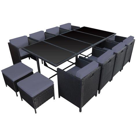 HABELOCK - Muebles de Jardín de Resina Trenzada Empostrable - 12 asientos - Negro Gris