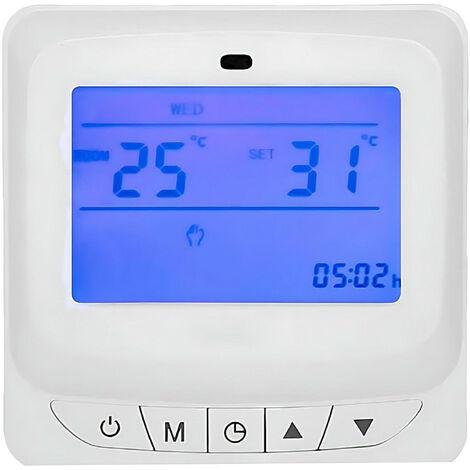 Suelo Radiante Electrico con Termostato Control Horario Temperatura y Agua,termostatos Digitales para Suelo Radiante de Pared Calefaccion Programable digital 220v LCD T/áctil-Negro
