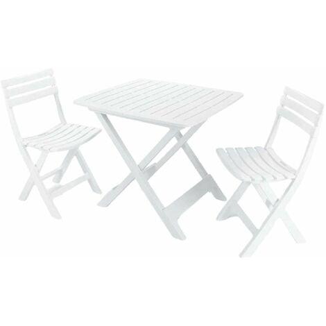 mesa y sillas terraza blanco