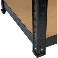 Pack 2 Estanterías Modulares Negras con 5 Baldas Ajustables 180x90x40cm 875Kg GH91