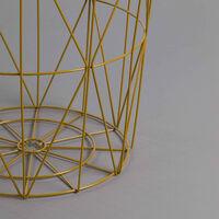 Mesita de Centro Redonda Storage 41x40cm Thinia Home Color - Beige y Gold