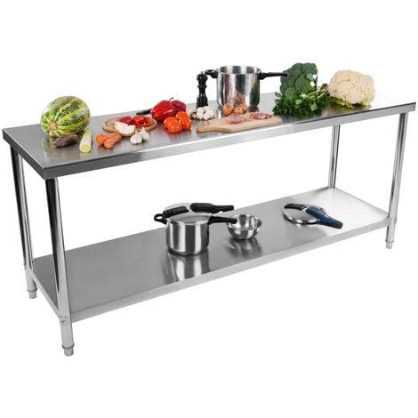 Table De Travail Plan Travail Etagere Professionnel Cuisines Acier Inox 200X60Cm