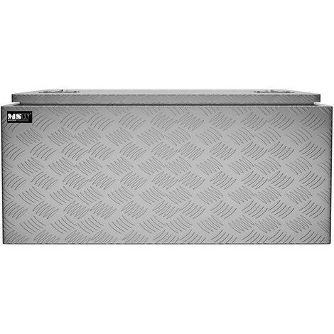 Coffre De Rangement Aluminium Damier Malle De Transport MSW 119L 91x44x43cm