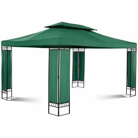 Tonnelle De Jardin Pergola Tente Pavillon Réception Imperméable Fer Vert 3x4m