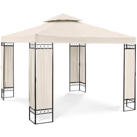 Pergola de jardin Terrasse en Kit Tonelle Toile 160g/m2 Uniprodo Beige