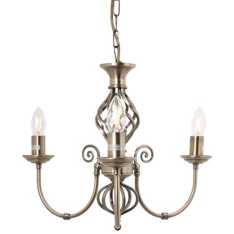 3 Light Classic Antique Brass Knot Twist Ceiling Light