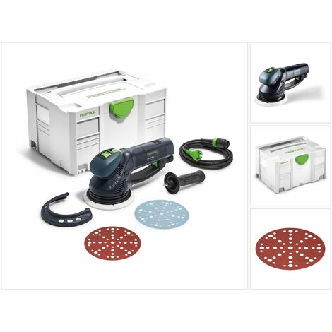 Festool RO 150 FEQ-Plus ROTEX Lijadora excéntrica de engranaje 720 W en SYSTAINER ( 575069 ) + 50x Discos de lijar Rubin 2 STF D150/48 P60 RU2(575187)