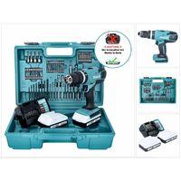 Makita HP 457 DWE Taladro percutor a batería 18V / G-Serie + Maletín de transporte + 2x Batería 1,5 Ah + Cargador DC 18 WA + Set de accesorios 74 piezas