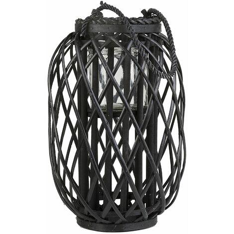 Dekorative Laterne Schwarz mit Kerzenhalter 40 cm Höhe aus geflochtenem Seil für den Innen- und Aussenbereich Modern
