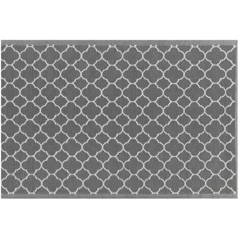 Outdoor Teppich Schwarz Polypropylene 120x180 cm mit marokkanischem Muster Rechteckig Kurzflor Gartenausstattung Gartenaccessoires Terrasse Balkon Wohnzimmer