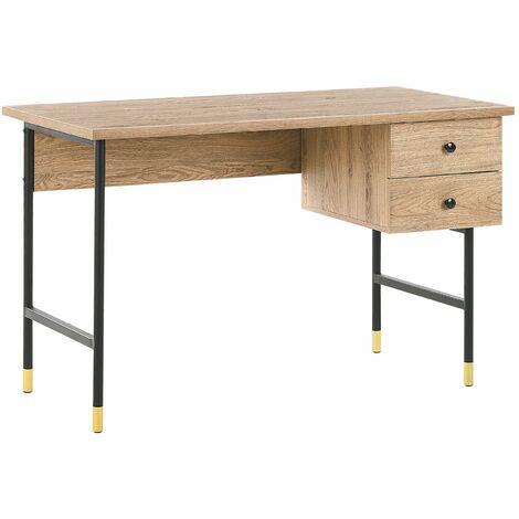Schreibtisch Schwarz / Heller Holzfarbton Metall 120 x 60 cm mit 2 Schubladen Wohnzimmer Arbeitszimmer Retrostil