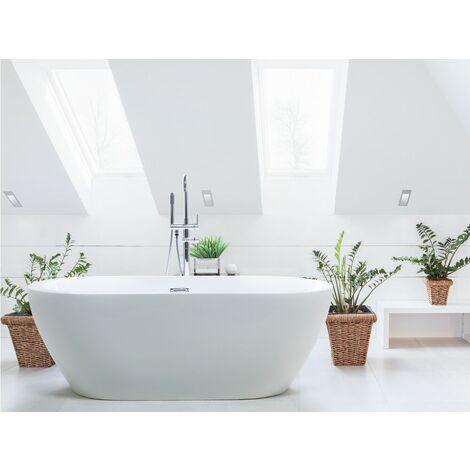 Badewanne Weiß 150 cm aus Sanitäracryl Ovale Form Freistehend Glänzend Badezimmerzubehör Modernes Design