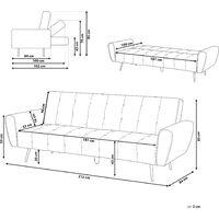 Sofa Grün Samtstoff 3-Sitzer Schlaffunktion Retro Wohnzimmer
