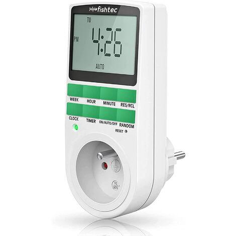 Fishtec® Programmateur Prise Electrique Hebdomadaire - Affichage Digital Grand écran - Economie d'énergie
