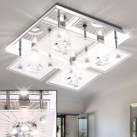 Luxe Verre Plafonnier Lampe salon chambre éclairage couloir chrome lampe environ