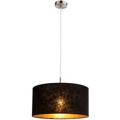 Cuisine lampe Lampe suspension plafond salon suspendu éclairage or textile noir Globo 15287H