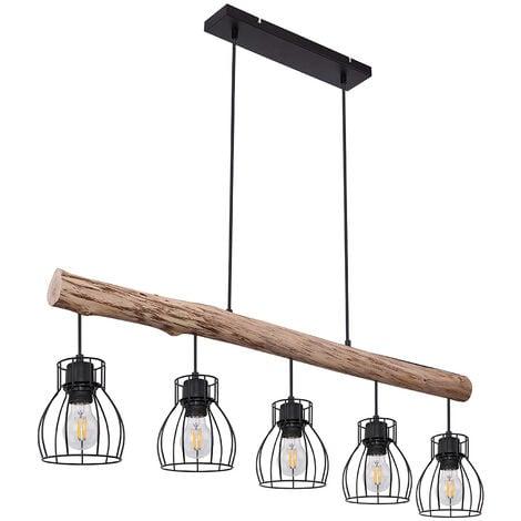 Plafond suspendu lampe poutre en bois salon éclairage grille suspension Globo 15326-5N