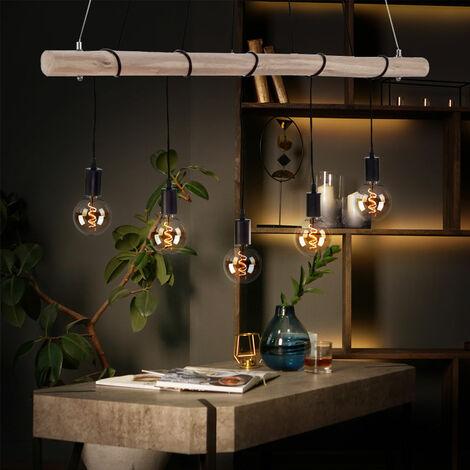 Plafonnier suspendu rétro poutres en bois Lampe suspension vintage FILAMENT dans un ensemble avec éclairage LED