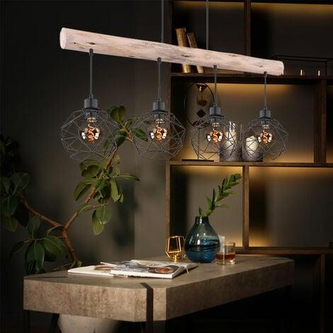 Plafonnier suspendu vintage poutres en bois grille suspension noir dans un ensemble avec éclairage LED