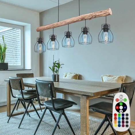 Plafonnier suspendu poutre en bois dimmable suspension lampe télécommande dans un ensemble avec éclairage LED RGB