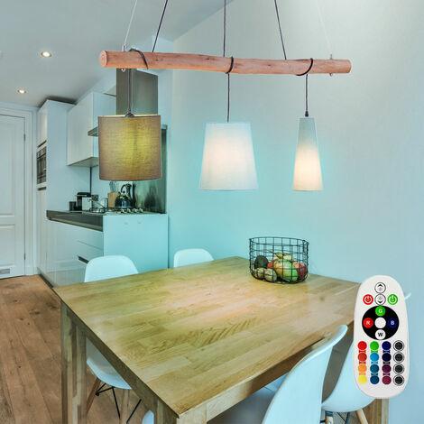 Lampe suspendue barre en bois télécommande textile lampe dimmable dans un ensemble incl
